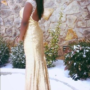 Gold sequence prom dress